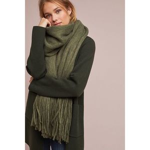 Anthropologie Green Cozy Blanket Scarf